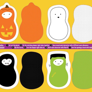 small (fat quarter)  - jordnöt halloween stuffed toys panel