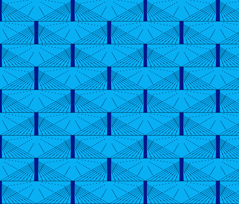 Geometric Blue Bridge fabric by modgeek on Spoonflower - custom fabric