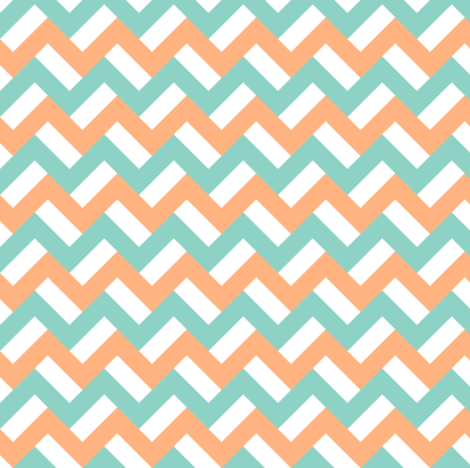 Orange and turquoise zigzags fabric by petitspixels on Spoonflower - custom fabric