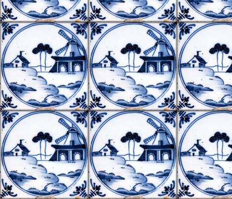 Blue & White ~ Dutch Tile fabric by peacoquettedesigns on Spoonflower - custom fabric