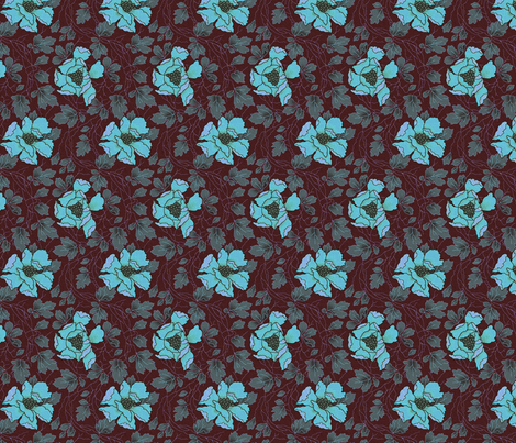 Floral Fling ~ New England Night fabric by peacoquettedesigns on Spoonflower - custom fabric