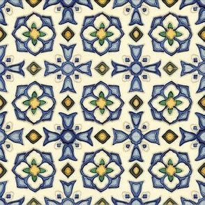 Blue and Yellow Flower Tile
