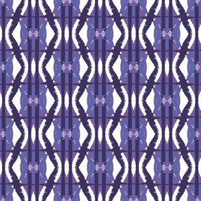 Psychedelic harlequin print in purples and lavenders