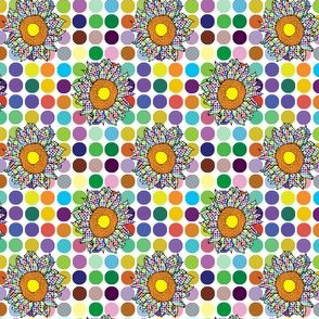 Spotted sunflowers on spots