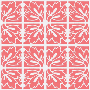 lilies - coral on while tiles