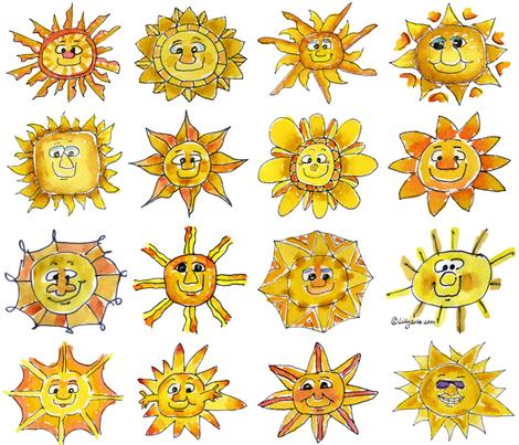 Cartoon Suns Feeling Sunsational fabric by lillyarts on Spoonflower - custom fabric