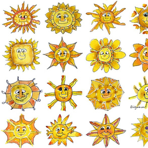 Cartoon Suns Feeling Sunsational