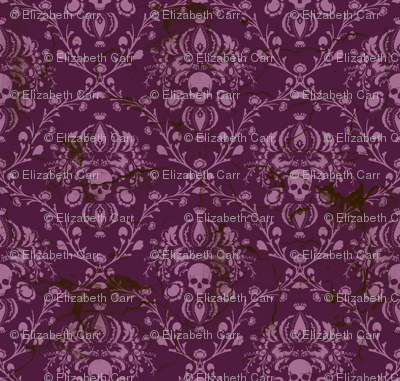 Orchid and Purple Skull Damask Distressed