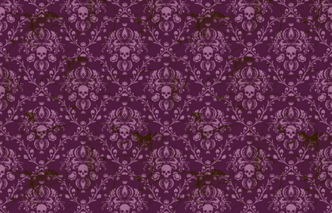 Orchid and Purple Skull Damask Distressed fabric by elizabeth on Spoonflower - custom fabric