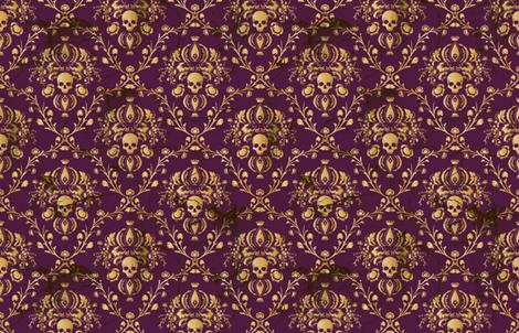 Plum Damask Skull Distressed fabric by elizabeth on Spoonflower - custom fabric