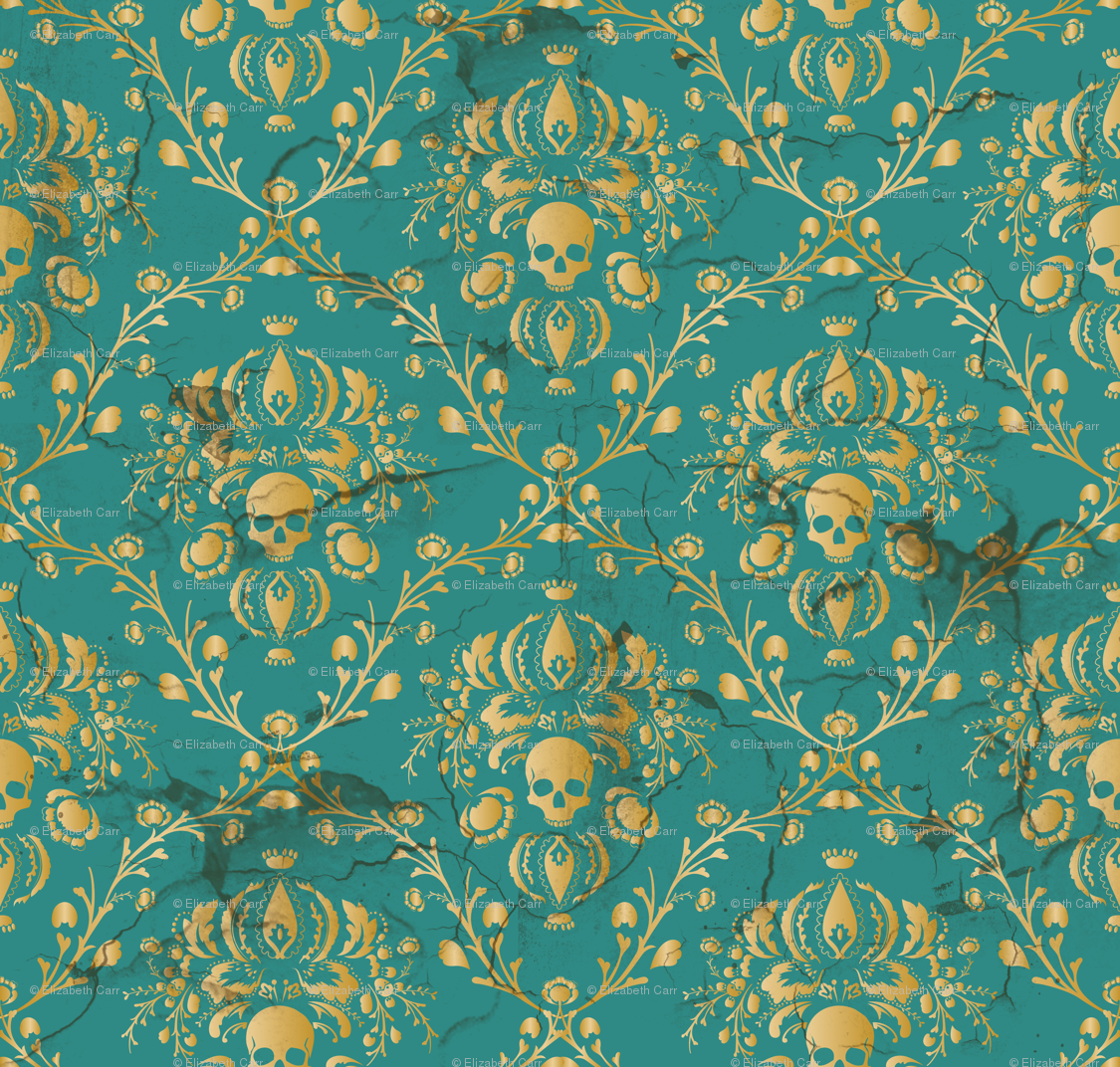 Teal Skull Damask Wallpaper