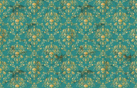 Teal Skull Damask  fabric by elizabeth on Spoonflower - custom fabric