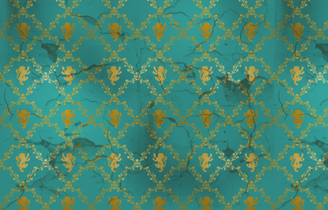 Lion Damask in teal and gold, distressed fabric by kellyw on Spoonflower - custom fabric