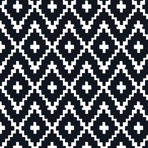Southwest Diamond Chevron _ White on black