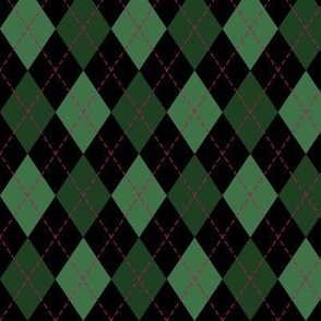Argyle in Green and Black