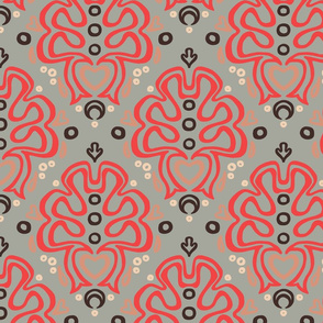 Loopy Damask in Lipstick Concrete