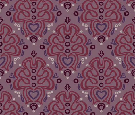 Loopy Damask in Romantic fabric by catbaconcreative on Spoonflower - custom fabric