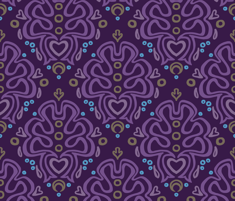 Loopy Damask in Urchin fabric by catbaconcreative on Spoonflower - custom fabric