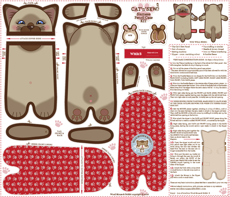 Siamese_Pencil_Case fabric by woodmouse&bobbit on Spoonflower - custom fabric