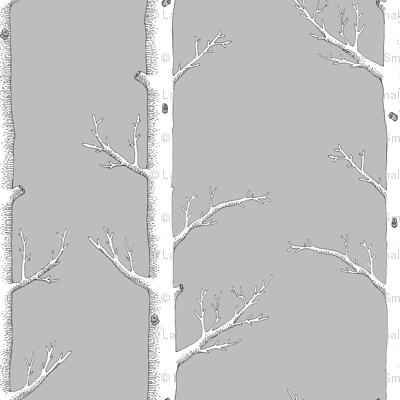 Infinity Tree White on Grey for Cotton