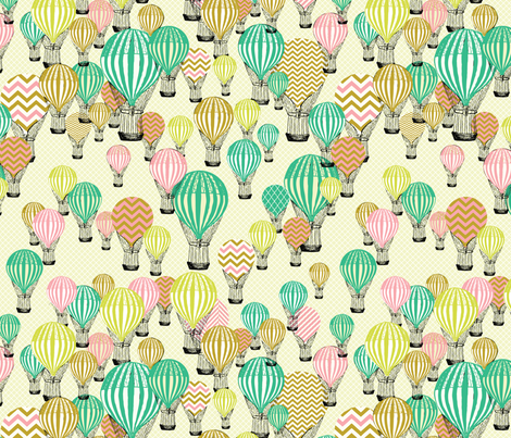 Colorful Hot Air Balloons fabric by allisonkreftdesigns on Spoonflower - custom fabric
