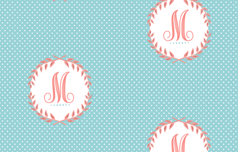 Monogram in Turquoise and Coral  fabric by willowlanetextiles on Spoonflower - custom fabric