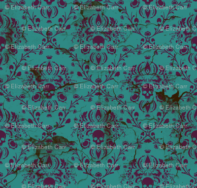 Purple on Teal Damask Skull Distressed