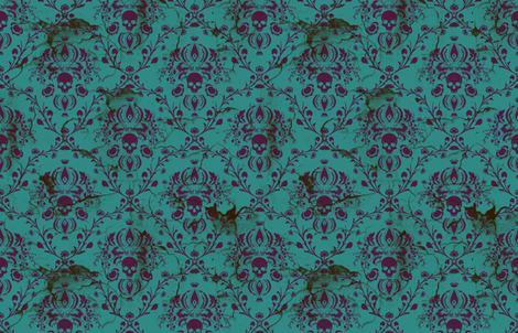 Purple on Teal Damask Skull Distressed fabric by elizabeth on Spoonflower - custom fabric