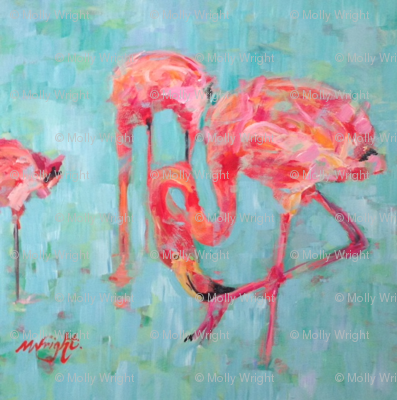 Pink Paradise Flamingos - Pink on Blue