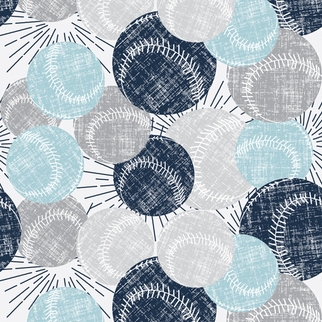 Baseball - Blues & Grays fabric by owlandchickadee on Spoonflower - custom fabric