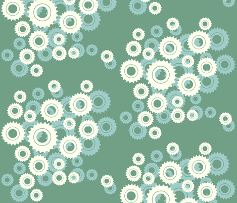 In full bloom -mod blue green fabric by fable_design on Spoonflower - custom fabric
