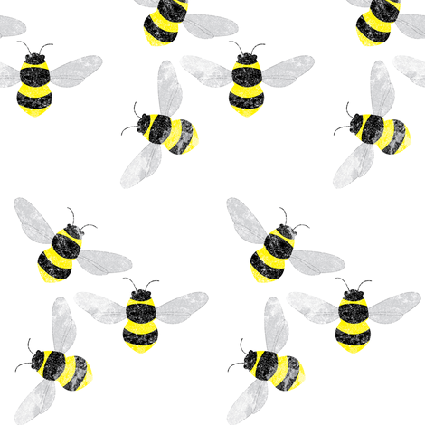 Fuzzy Bumblebees fabric by owlandchickadee on Spoonflower - custom fabric