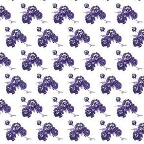 Medium scale retro roses in shades of purples and lavender