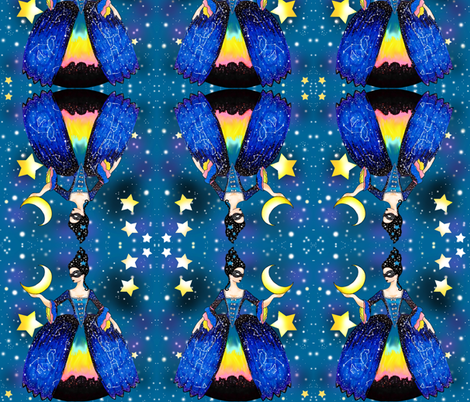 The Queen of Night hangs the Moon fabric by beesocks on Spoonflower - custom fabric