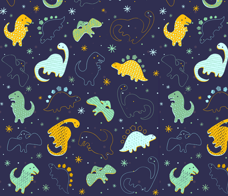 Adorable Dinos 2 fabric by lsk235 on Spoonflower - custom fabric