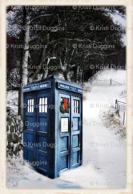 Police Box in the Snow Winter Scene