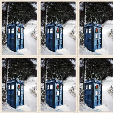 Police Box in the Snow Winter Scene  fabric by bohobear on Spoonflower - custom fabric