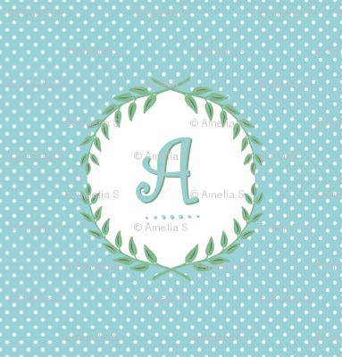 Custom Laurel Monogram in Turquoise and Apple Green