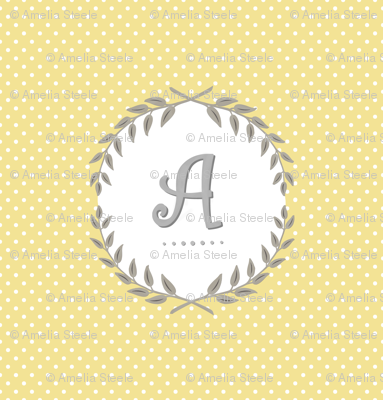 Customizable Sunshine and Cloud Laurel Monogram / Initial