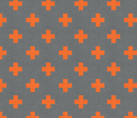 plus_one_orange_spaced fabric by holli_zollinger on Spoonflower - custom fabric