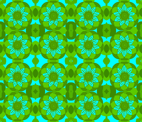 Stately Floral Turquoise fabric by robin_rice on Spoonflower - custom fabric