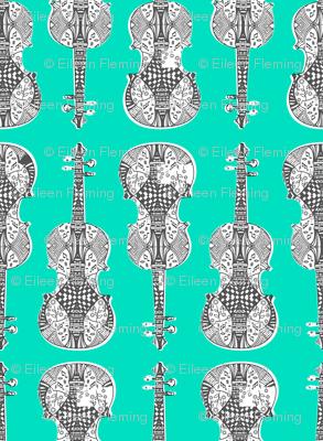 violin_print_gray_white_green_bg