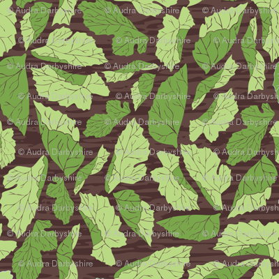 Mulberry Leaves on Woodgrain