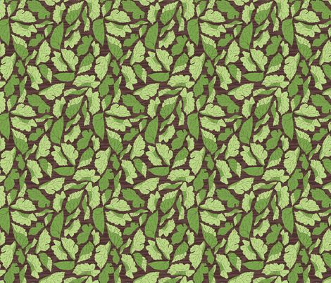 Mulberry Leaves on Woodgrain fabric by audsbodkin on Spoonflower - custom fabric