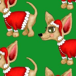 Christmas Chihuahua or Merry Chi-mas! green background