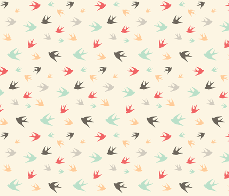 Sparrows in flight - aqua / coral / beige / brown / grey fabric by little_fish on Spoonflower - custom fabric