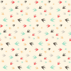 Sparrows in flight - aqua / coral / beige / brown / grey