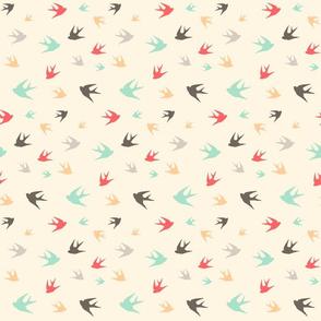 Sparrows in flight - aqua / coral / beige / brown / grey