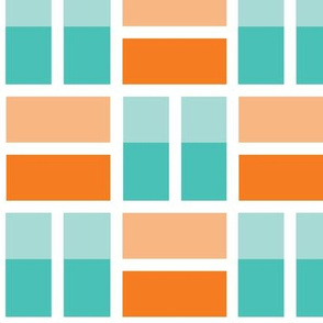 chequer in orange blue