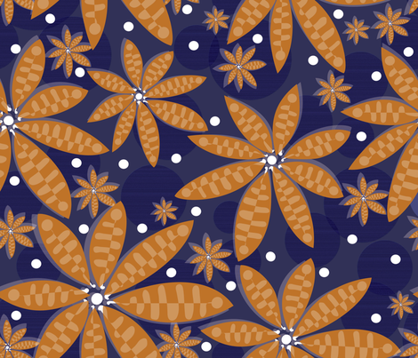 blue flower carpet fabric by liluna on Spoonflower - custom fabric